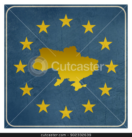 Ukraine European sign stock photo, Ukraine European sign isolated on white background.  by Martin Crowdy