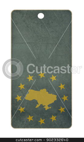 Ukraine travel tag stock photo, Ukraine travel tag isolated on white background with copy space.  by Martin Crowdy