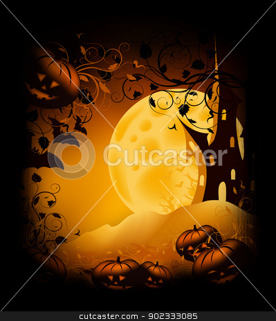 Halloween background stock photo, Halloween bitmap illustration background with pumpkin, castle, moon and ornate by Olga Altunina