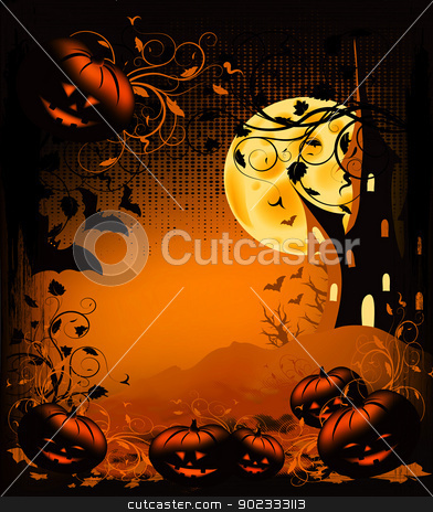 Halloween Background stock photo, Halloween illustration background with pumpkin, castle, moon and ornate by Olga Altunina