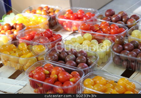 Cherry tomatoes at a French market stock photo, Cherry tomatoes in various colors at a French market by Porto Sabbia