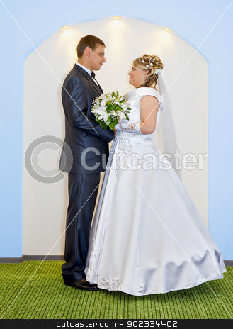 Bride and groom at wedding stock photo, The bride and groom at wedding ceremony by Alexey Romanov
