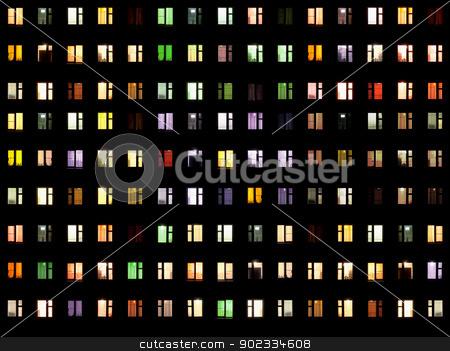 Seamless texture - night windows stock photo, Seamless texture from set of windows on a black background - night by Alexey Romanov