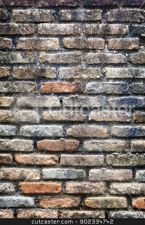 Old brick wall texture stock photo, An old brick wall in an abandoned church by Alexey Romanov