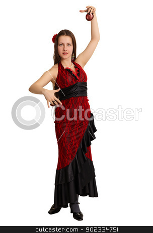 Woman performs the Spanish dance with castanets stock photo, Young beautiful woman is dancing the Spanish dance with castanets isolated on white background by Alexey Romanov
