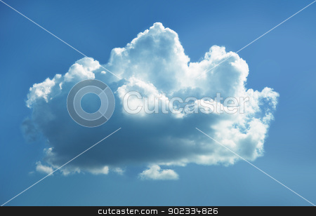 Cloud in sky stock photo, Lonely cloud in blue sky by Alexey Romanov