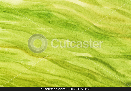 green and yellow abstract stock photo, green and yekkow vibrant watercolor paper texture with wavy brush strokes by Marek Uliasz
