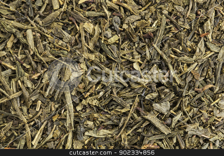 Sencha green tea stock photo, background texture of Sencha green tea - fresh, sweet, delicate tea presented as slender, needle-shaped leaves from the famous Fuji district of Shizuoka, Japan. by Marek Uliasz