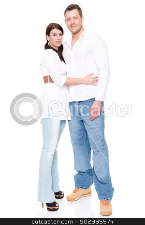 Young couple stock photo, Young and happy couple in front of white background by Picturehunter