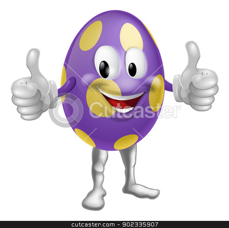 Easter Egg Man Illustration stock vector clipart, An illustration of a happy fun cartoon Easter egg mascot character doing a thumbs up  by Christos Georghiou