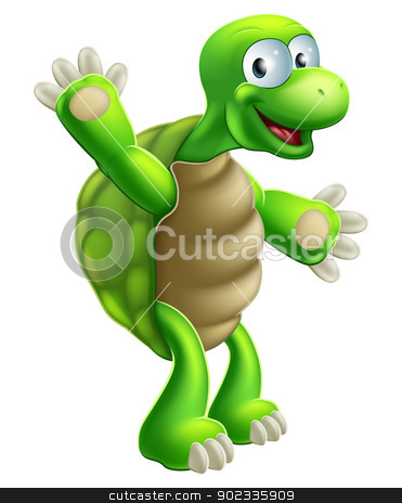Cartoon Tortoise or Turtle Waving stock vector clipart, An illustration of a cute cartoon tortoise or turtle character waving by Christos Georghiou