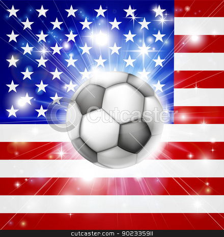 USA soccer flag stock vector clipart, Flag of USA soccer background with pyrotechnic or light burst and soccer football ball in the centre  by Christos Georghiou