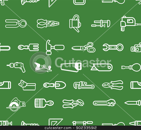 Repeating tools background stock vector clipart, A seamless repeating background with lots of tools and harware by Christos Georghiou