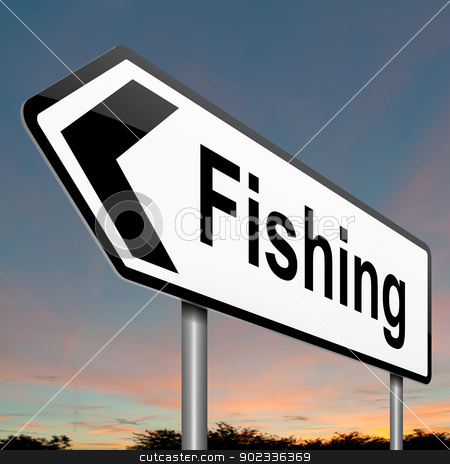 Fishing concept. stock photo, Illustration depicting a sign with a fishing concept. by Samantha Craddock