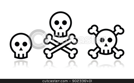 Cartoon skull with bones vector icon set stock vector clipart, Modern black and white icons with reflection - death concept by Agnieszka Murphy