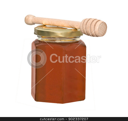 Honey and honey dipper (honey stick) isolated on white backgroun stock photo, Honey and honey dipper (honey stick) isolated on white background by vaeenma