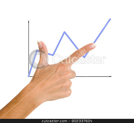 Finger pointing to a red chart stock photo, Finger pointing to a red chart by vaeenma