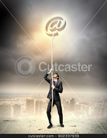 Image of businessman climbing rope stock photo, Image of businessman climbing rope attached to e-mail sign by Sergey Nivens
