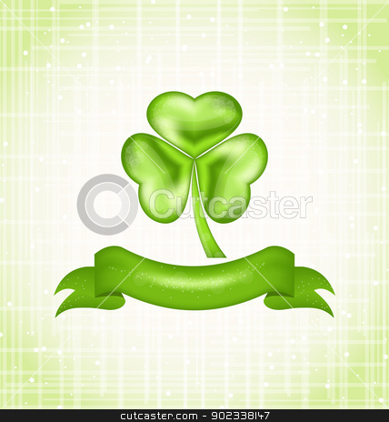 Shamrock with ribbon for Saint Patrick day stock vector clipart, Illustration shamrock with ribbon for Saint Patrick day - vector  by -=Mad Dog=-