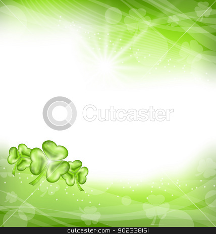 St. Patrick Day green clover background stock vector clipart, Illustration St. Patrick Day green clover background - vector by -=Mad Dog=-