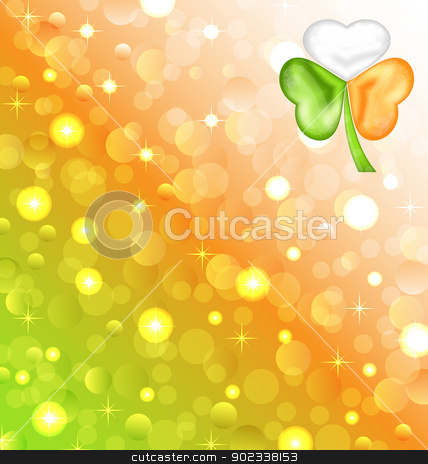 Shamrock in Irish flag color for Saint Patrick day stock vector clipart, Illustration shamrock in Irish flag color for Saint Patrick day - vector  by -=Mad Dog=-