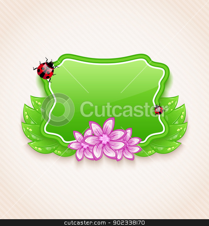 Cute spring card with flower, leaves, lady-beetle stock vector clipart, Illustration cute spring card with flower, leaves, lady-beetle - vector by -=Mad Dog=-