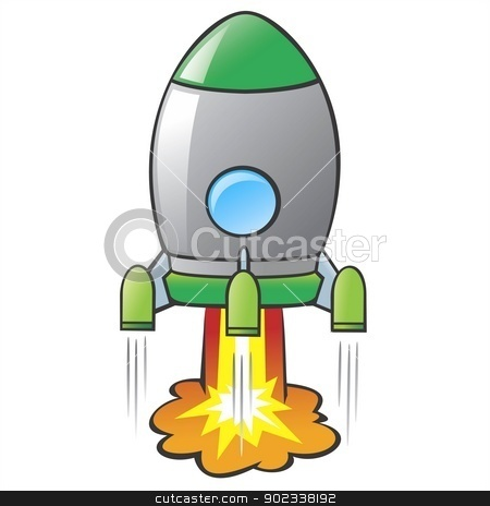 Cartoon Rocket stock vector clipart, Vector illustration of a cartoon rocket. No radial gradient / transparency / gradient mesh. Created in Adobe Illustrator by Mumut