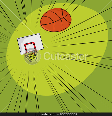 Basketball Into The Net stock vector clipart, Basketball flying through the air towards a hoop by Eric Basir