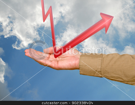 Hand with a red chart stock photo, Hand with a red chart by vaeenma