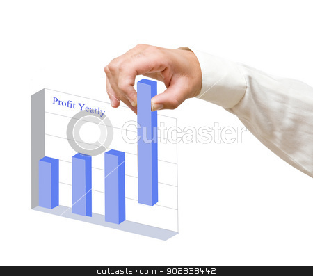 Hand forming a chart of profit stock photo, Hand forming a chart of profit by vaeenma