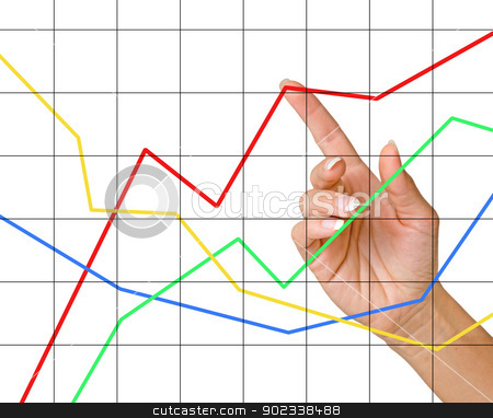 Finger pointing to charts stock photo, Finger pointing to charts by vaeenma