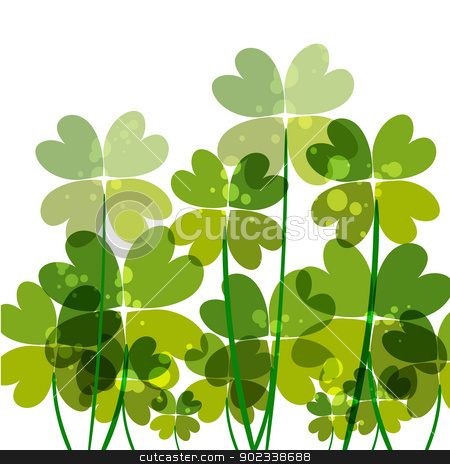 Green transparency clovers stock vector clipart, Contemporary transparent clovers isolated. EPS10 file version. This illustration contains transparencies and is layered for easy manipulation and customization. by Cienpies Design