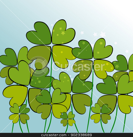Green transparency clovers stock vector clipart, Contemporary clovers with stars background. EPS10 file version. This illustration contains transparencies and is layered for easy manipulation and customization. by Cienpies Design