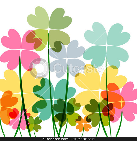 Multicolored transparency flowers stock vector clipart, Spring time contemporary transparent flowers isolated over white. EPS10 file version. This illustration contains transparencies and is layered for easy manipulation and customization. by Cienpies Design