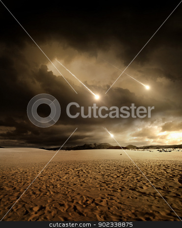 Meteors to the sky stock photo, Some meteors rain from the sky through clouds by Giordano Aita