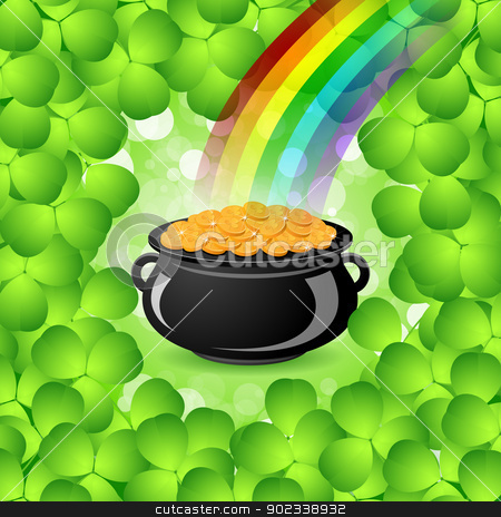 St. Patricks Day Cauldron with Gold Coins stock vector clipart, St. Patricks Day Cauldron with Gold Coins, Rainbow and Shamrock by Vadym Nechyporenko