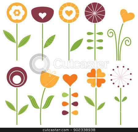 Retro cute spring flowers set isolated on white stock vector clipart, Hand drawn flowers set - orange, brown and green. Vector Illustration by BEEANDGLOW