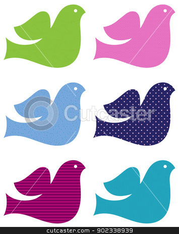 Colorful doves set isolated on white stock vector clipart, Patterned doves collection in fresh colors. Vector Illustration by BEEANDGLOW
