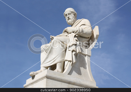Statue of philosopher Plato in Athens, Greece stock photo, Nineteenth century neoclassical statue of ancient Greek philosopher Plato outside the Academy of Arts of Athens in Greece. by Brigida Soriano