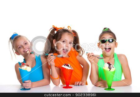 children eating icecream stock photo, happy children eating icecream sundaes by mandygodbehear