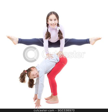 leapfrog kids stock photo, happy leapfrog kids or children playing game by mandygodbehear