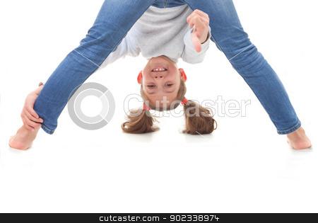 positive carefree child stock photo, positive carefree child upside down by mandygodbehear