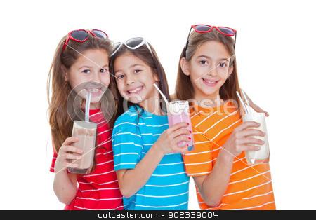 children drinking milk drinks stock photo, children drinking flavoured milk drinks by mandygodbehear
