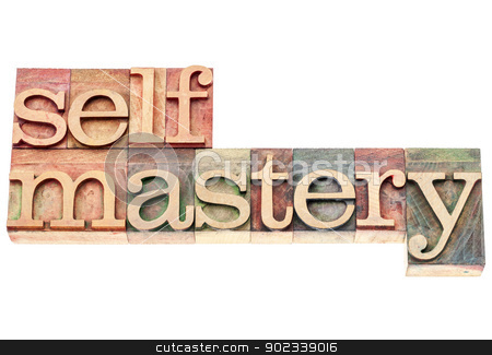selfmastery word in wood type stock photo, selfmastery word - isolated text in vintage letterpress wood type printing blocks by Marek Uliasz