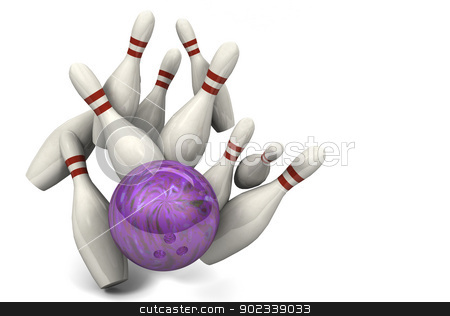 Bowling Ball Hitting Pins for a Strike stock photo, Image of a bowling ball hitting ten pins for a strike. by Anthony Ross