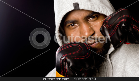 Boxing Portrait Male Cover Face stock photo, A boxer up close and personal  by Christopher Boswell