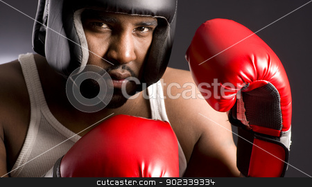 Spar Tough in Head Gear stock photo, An African American man going to Spar by Christopher Boswell