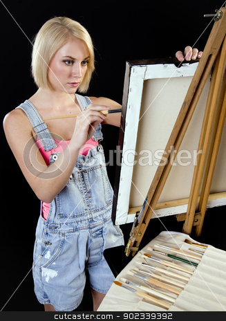 Painter Stand Working her Masterpiece stock photo, Beautiful Jordan paints her masterpiece by Christopher Boswell