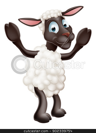Sheep cartoon character stock vector clipart, Illustration of a cute sheep or lamb cartoon character waving by Christos Georghiou