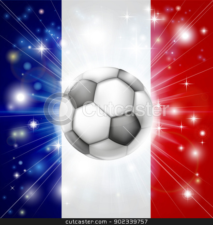 France soccer flag stock vector clipart, Flag of France soccer background with pyrotechnic or light burst and soccer football ball in the centre  by Christos Georghiou